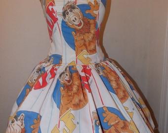 Alf T.V. Character Custom Made to Order Vintage Sweet Heart Geekery Pin UP Halter Ruffled mini Dress