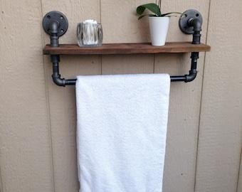 Industrail Pipe Reclaimed Wood Bathroom Shelf Towel Rack