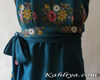Teal Blue Floral Cotton Wrap Tunic