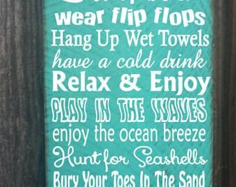 beach sign, beach rules sign,  beach decor, beach house decor, beach house sign, ocean sign, beach cottage, beach cottage decor, 63