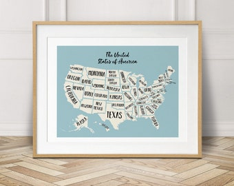 Planner poster etsy usa map travel map travel gift wanderlust usa nursery decor gumiabroncs Image collections