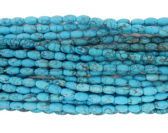 Howlite  Beads - Turquoise Barrel Beads - Necklace Strand with Tassel--ONE(1) STRAND (S107B3-01)