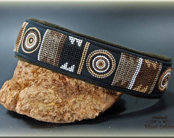 Dog collar MASSAI, Martingale,  embroidered Earth brown