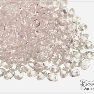 Transparent Light Rosaline Czech Preciosa TWIN Pressed Beads 3x5 mm, 20 g (7164)