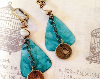 A Little Birdie Told Me Brass, Patina, and  Botswanian Agate Earrings