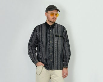Printed corduroy SHIRT Vintage striped gray button up 80s 90s abstract hipster aztec long sleeve mens L Large