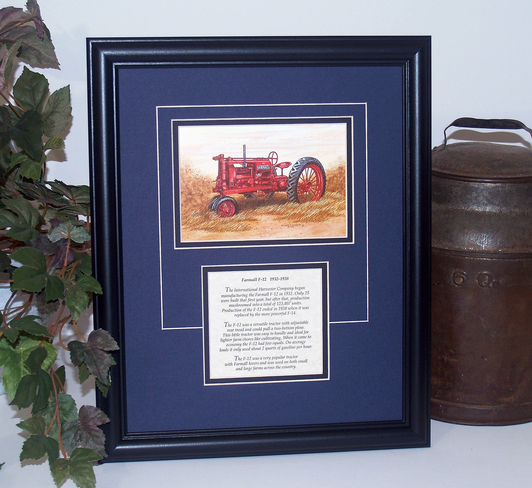 Farmall F-12 1932 to 1938 with History Framed Art gift for