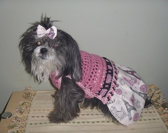 Paris Skirt-ter Ooh La La - Dog sweater dress - 2 To 20 Lb Dogs - Made to order
