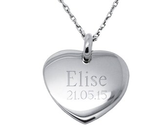 Personalized Sterling Silver puffed Heart Necklace