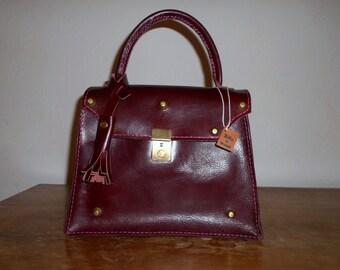 Borsa in pelle, borsa bordeaux, borsa bauletto, borsa donna in pelle, borsa con manico, borsa a mano, regalo per lei, accessori donna