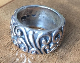 Vintage Sterling Silver 925 Filigree Ring Solid Band Size 6 or 6.5 M-031