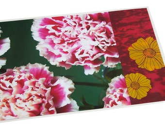 Laminated placemat pink carnations and yellow floral design