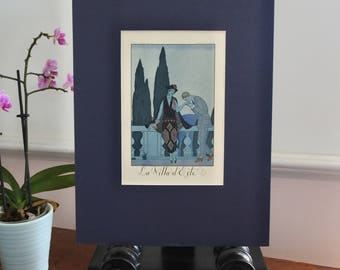 Antique French Print, Pochoir, George Barbier, Lovers at La Villa d'Este, 1922, Vintage Print, Falbalas & Fanfreluches, Art Deco, Original