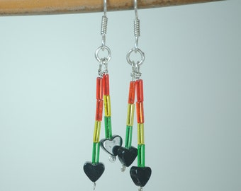 Earring with Onyx Hearts