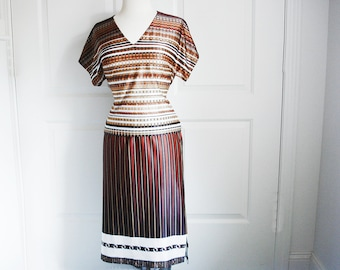 Vintage 70s dress set/ handmade two piece striped suit/ white beige brown chocolate OOAK/ earthy tones/