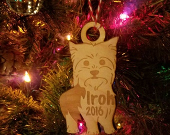 Wooden Yorkie Christmas ornament Yorkshire Terrier Christmas Ornament dog ornament dog christmas yorkie ornament terrier ornament dog lover