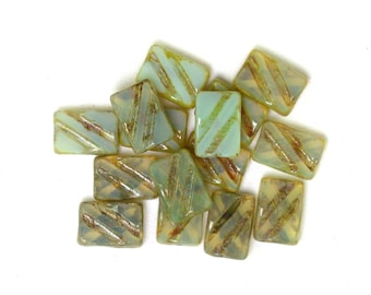 Green opaline w/ picasso 13 x 9mm engraved diagonal striped rectangle. Set of 8 or 15.