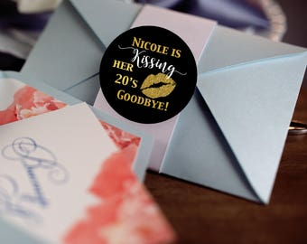 Kissing her 20s Goodbye Stickers - Birthday Labels - Kissing her 30s Kiss Labels - Birthday Party Decor - Black Gold - Round Labels