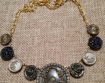 CELLULOID BUTTON NECKLACE 19th Century cut steel silver and gold original blueish tint very victorian