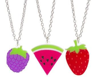Mini Fruit necklace - laser cut acrylic perspex blackberry watermelon melon strawberry berry