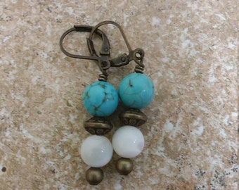 Turquoise Dyed Howlite and Mother of Pearl Dangle Earrings