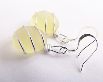 Sea Glass Bridesmaids sets - Citrus Yellow Earrings - Glass Pearl - Other Colors Available - Weddings - affordable - seaside