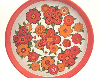 """Vintage 70s metal tray with """"Flower Power"""" decor, Top condition !!!"""
