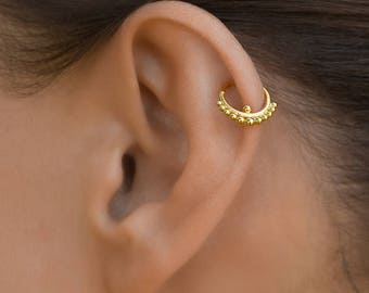 Gold helix earring. cartilage earring. tragus earring. tragus hoop. tiny hoop earrings. tragus jewelry. tiny earrings. helix earring.