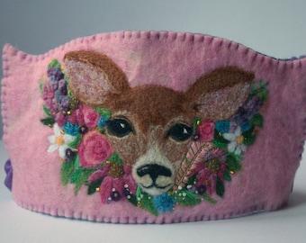 Baby Deer Birthday Crown: Custom Made Woodland Boho Deer Wool Crown for Dressup and Birthday Celebrations (Waldorf Tradition)