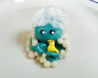 Bubble Bath Time Octopus Mini Marble Friend with duckie and bubble and removable shower cap