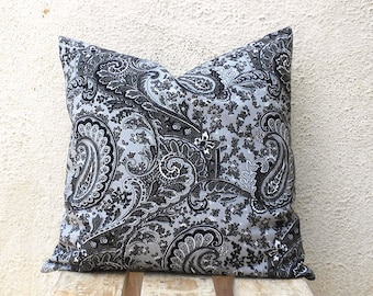 Decorative Throw Pillow Covers - Black and Grey Paisley Print - 16 x 16  - 1 pair - ct78A