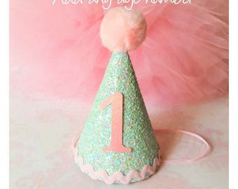 Mint and Pink Birthday Hat,Baby Girl Birthday Hat,Mint Birthday Hat,Pink pom pom,Birthday Celebration