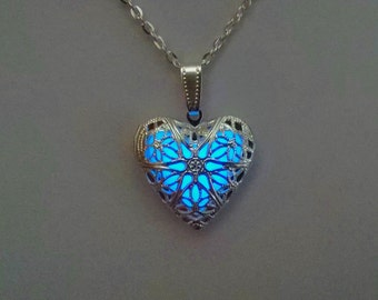 Glowing Locket - Heart Necklace - Wife gift - Valentines Gift - Glow in the Dark Pendant - Glowing Charm - Bridesmaid Necklace Gifts for Her