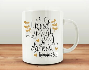 Bible verse teacher gift etsy custom coffee mugs roman 58 bible verse coffee mug teacher gifts negle Images