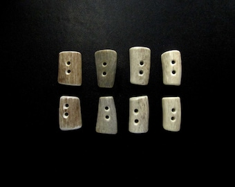 Natural Antler Toggle Buttons,Flat Oval Rectangles,Tines,Sewing,Crafts,Shearling Coats,8 Pieces,B-7
