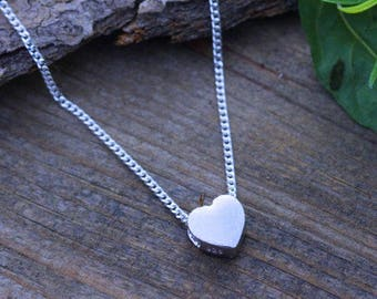 Small Heart Necklace. Sterling silver Heart Necklace, Small tiny Heart Necklace . Teen gift. Flower Girl . Simple Dainty Delicate Necklace