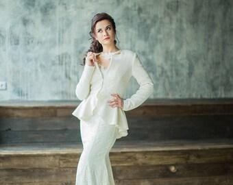 Winter jacket | Bridal jacket | Bridal coat | Wedding jacket | Warm wedding cover up | Bridal shawl | White coat | Wool cape | Kamilla 2