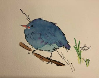Fluffy Blue Bird on a Branch watercolor using Lukas Aquarelle 1862 Watercolors on Rough Arches paper and archival ink pen.