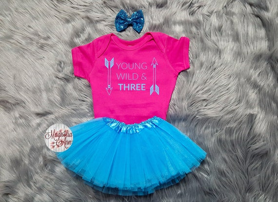 Young Wild And Three Birthday Tutu Outfit, 3rd Birthday Tutu Outfit, Toddler 3rd Birthday Shirt, Toddler Birthday, 3rd Birthday Outfit Girl