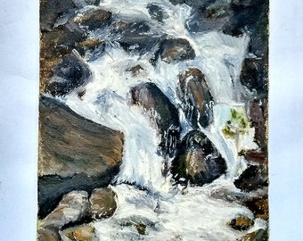 Original Modern Impressionism Mountain Stream, River, Waterfall Oil Painting on Canvas by Ukrainian Artist 20x30cm