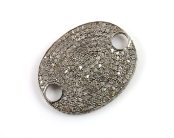"""Pave Diamond Covered Oval Pendant, Gorgeous Piece, Appx 1"""" Long (DCH/PDT/354)"""