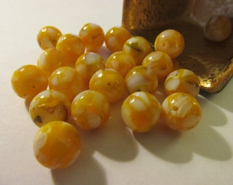 Golden Mother-of-Pearl Shell Beads, 10mm, Set of 6