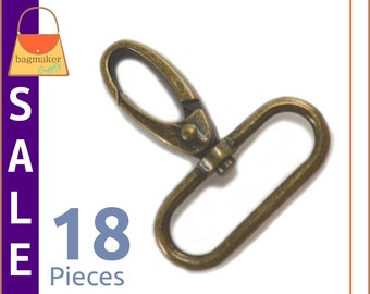 On Sale : 1-1/2 Inch Swivel Snap Hooks, Antique Brass / Bronze Finish, 18 Pieces, Handbag Purse Hardware Supplies, 1.5 Inch, SNP-AA112