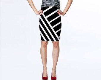 Black and White Striped Skirt / Skirt / Pencil Skirt / Bodycon Skirt/ Striped Skirt / Bodycon Pencil Skirt / Black Skirt/ Black Pencil Skirt