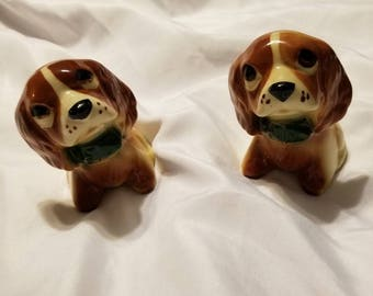 Vintage Ceramic Sad Eyes Spaniels (2) Planter Ring Holder Etc
