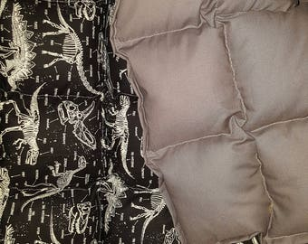 Glow in the dark dinosaurs and Cotton, Fleece or Minky Weighted blanket Medium (40x62) Available in Multiple Fabrics