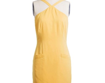 Vintage 1960s sleeveless dress - 60s Summer Dress - Yellow day dress - 60s wiggle dress