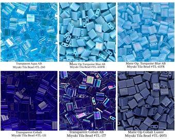 Miyuki TILA Beads (7.2gr), Transparent Aqua, Matte Opaque Turquoise, Cobalt, Blue, 2-Hole, 5mm Square, Glass Beads, DIY Jewelry, Bead Supply