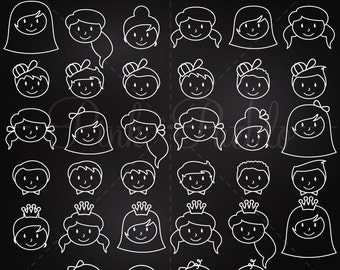 Chalkboard Stick Figure Heads Clipart Clip Art Vectors, Chalk Stick People Family Clip Art Clipart Vectors - Commercial and Personal Use