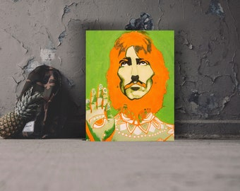 George Harrison, Beatles, Pop Art Acrylic Painting on Stretched Canvas.